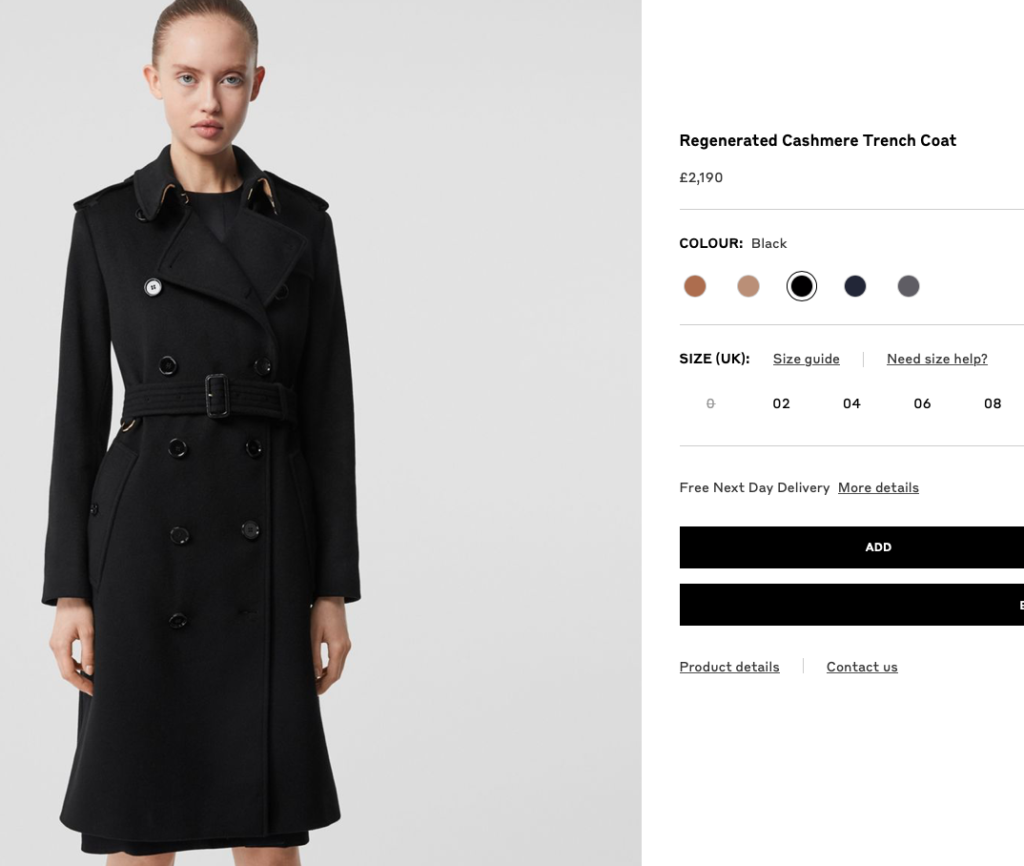 Burberry trench coat cashmere
